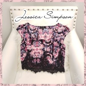 🔥Jessica Simpson crop top lace floral small
